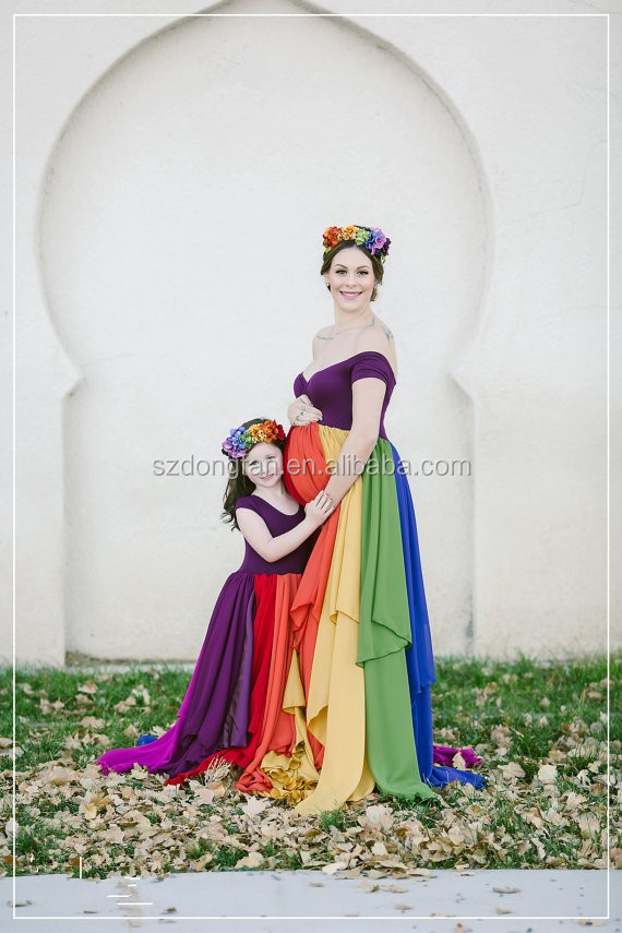 Women Rainbow Maternity Gown Chiffon Maxi Dress Maternity Beautiful Clothing