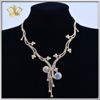 new arrival diamante rhinestone ornaments gold plated rhinestone crystal necklace fashion jewelry