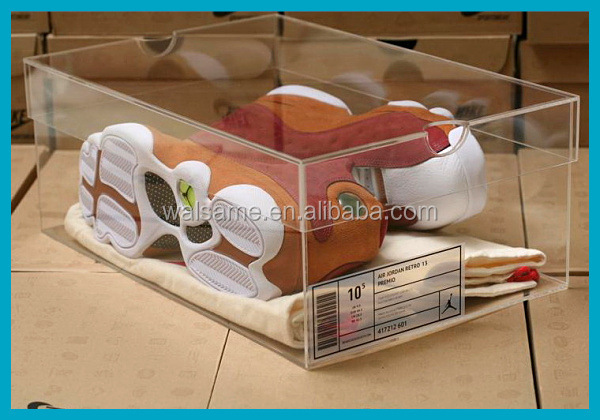 Clear acrylic nike sneakers display case nike shoes men display rack custom shoe box with logo clear sneaker box acrylic