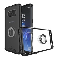 360 Rotation Ring Holder Clear Acrylic Hard Back Cover Hybrid TPU Bumper Case For Samsung Galaxy S8