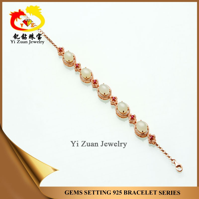 Fashion design 925 silver jewelry hetian jade stretch bracelet