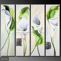 Handmade Modern Group flower Oil painting, four calla lilies white green four panels