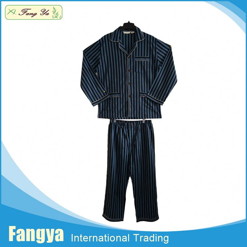 Free Sample 100% cotton flannel woven adult men footed pajamas