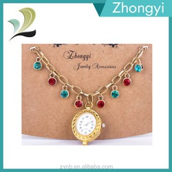 Gold Chain with Rhinestones Watch Charms Statement Jewelry