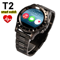 T2 Bluetooth Smart Watch Waterproof IP67 Sync Phone Call SMS MTK6260 PU Band Stainless Steel Wrist Watch for ios andorid phone