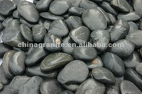 black tumbled river cobbles and pebbles