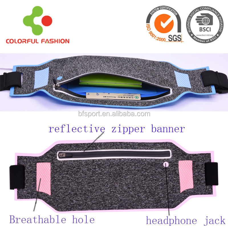 Ecofriendly ultrathin unisex reflective running belt waist back pack waist belt