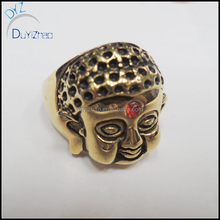 Fashion customized gold plated Buddha head ring