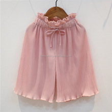 Summer Newest Design Pink Pleated Children Girl Chiffon Wide Leg Pant