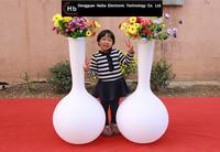 Solar PE Plastic Illuminated flower pots home depot cast iron garden planters flower pot derby ql-9115 Chinese suppliers