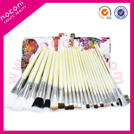 soft nylon 24pcs professional high quality nylon cosmetic brush set make up set crocodile pattern pu bag