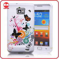New Butterfly Parttern Soft Rubber Gel Flexible TPU Flower Case for Samsung Galaxy s2
