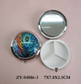 Custom glass printing mirrored pill box , round shape metal pill box , compact pill box