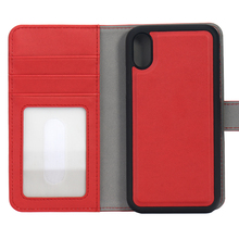 premium PU leather 2 in 1 protective folio flip wallet case with card holder for iPhone 8