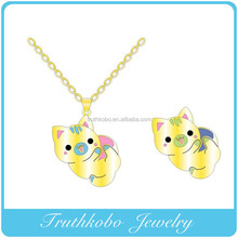2016 High Quality Newest wholesale Gold plated colorful enamel Animal sexy pendant in Necklace for girls jewelrys