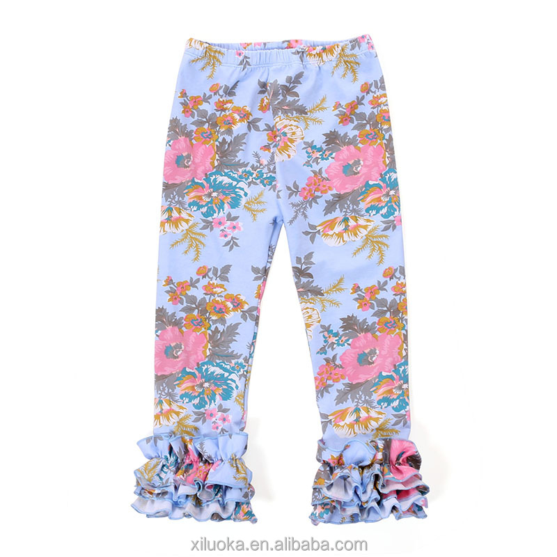2017 wholesale icing pants tripe ruffle baby floral leggings