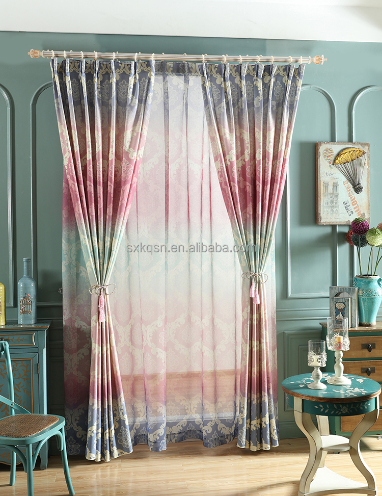 Fashion design printed luxury curtains printing curtain