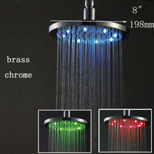 Luxury round 3 color change hydro powered rain led bath shower