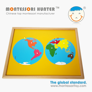 World Puzzle Map of Geography Montessori School Toys