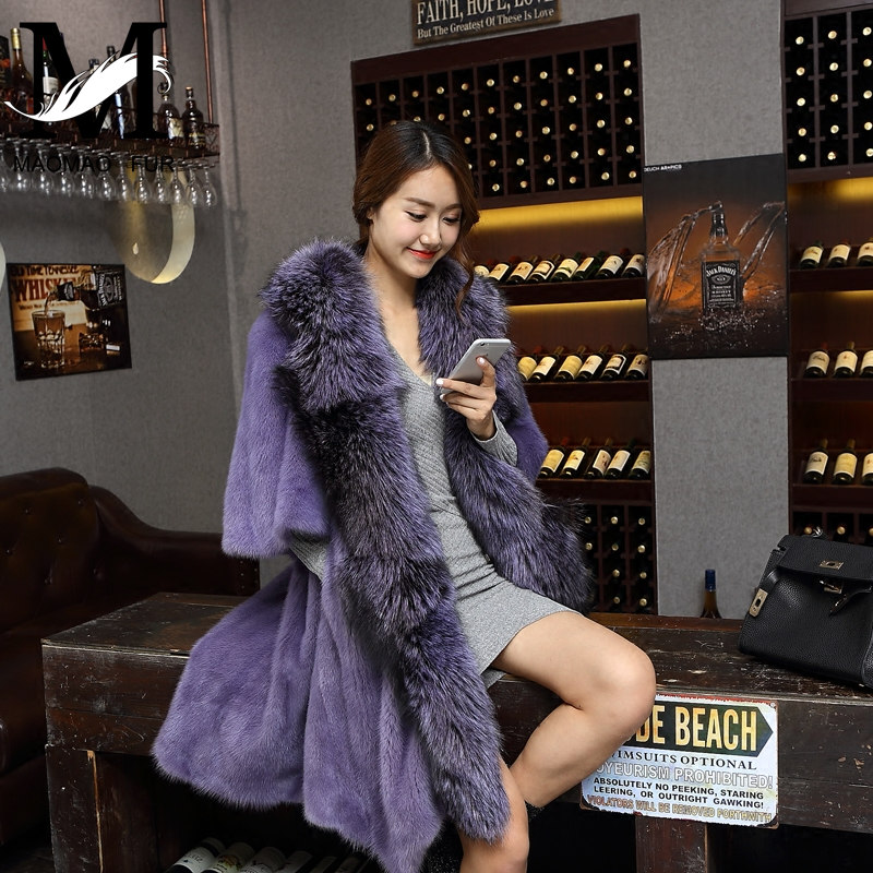 2016 Fashion Coat With Fox Fur Collar Luxury Genuine Mink Fur Coat With Fox Fur Collar