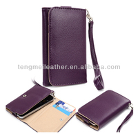 Wallet Leather Case For iPhone 5 With 3 Card Slots,Slim Purple Flip PU Leather Smartphone Cover Pouch Bag For iPhone 5 5S