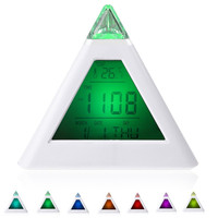 7 LED Color changing alarm clock Pyramid Digital LCD Snooze Triangle Alarm Clock