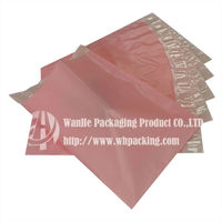 Customized recycled pink plastic bags with self adhesive for mailing