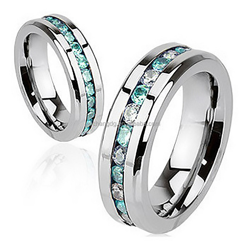 Glowing Stainless Steel Ring with Embedded Aquamarine and Crystal Cubic Zirconia
