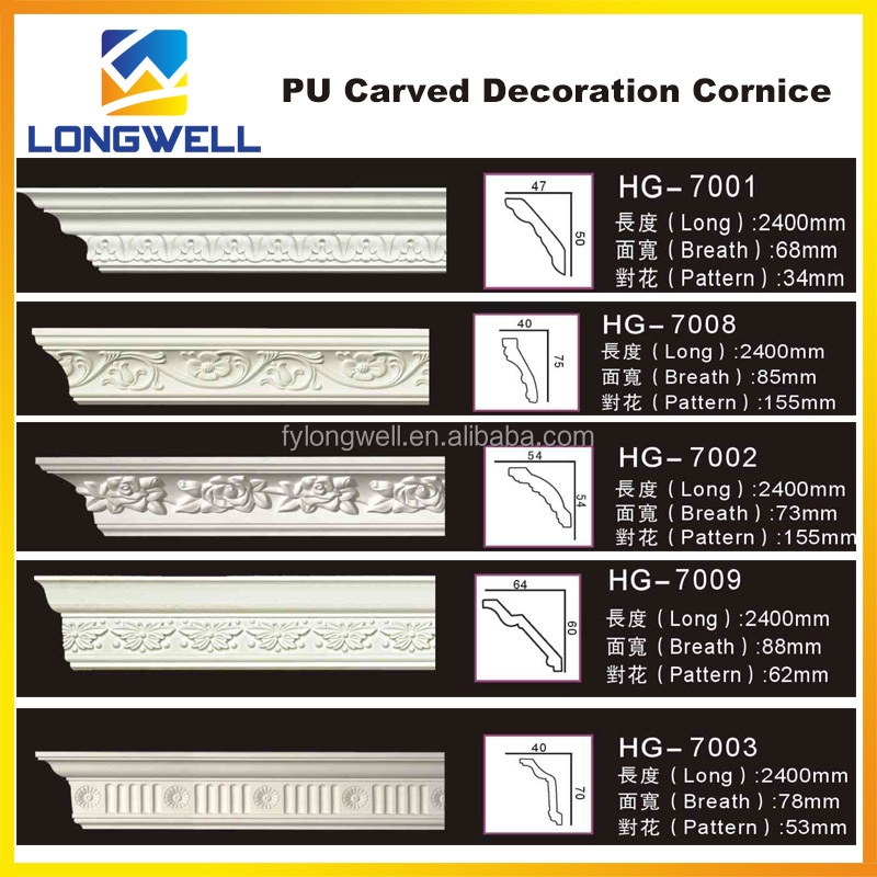 Exterior and Interior PU(Polyurethane) Cornice Moulding Design