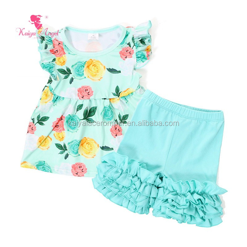 Aqua Floral Print Baby Shirt Cotton Triple Ruffle Pant Childrens Boutique July 4th Clothes
