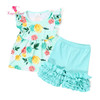 Aqua Floral Print Baby Shirt Cotton