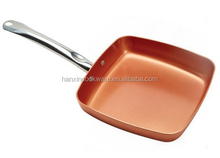 New copper coating non stick shallow square fry pan with basket