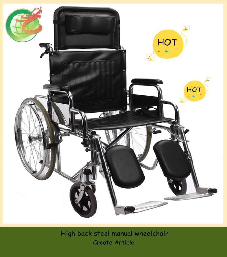 High back steel manual wheelchair with CE/TUV/ISO certified
