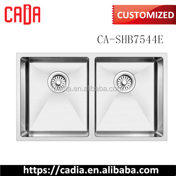 Chinese Round Edge 750mm Double Equal Bowl Undermount Kitchen Sink