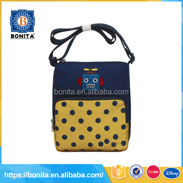 Customized popular yellow ladies polyester college shoulder long strap bag