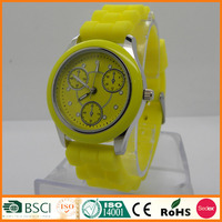 Yellow Up Girl Latest Hand Watch Strap Rubber For 2016 Gifts