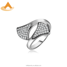AAA Cubic Zirconia Ginkgo Leaf Ring,China Factory Supplies 2018 New Copper Fashion Jewelry Engagement Wedding Women Rings