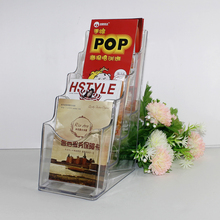 manufacturer 4 tiers clear acrylic magazine/brochure holder