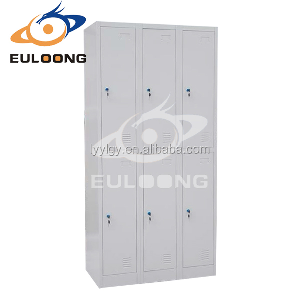 Popular Cambodia widely used six doors metal stainless steel gym locker lock cabinet cupboard/Euloong Steel Furniture
