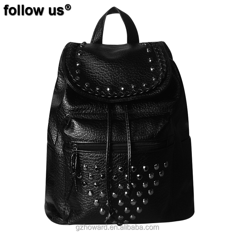 newest black women backpack PU lady bag with beads very popular designs