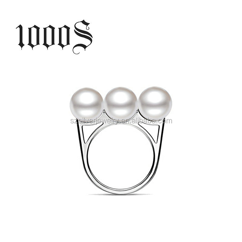 Latest Silver 925 Finger Ring Designs with Triple Pearl