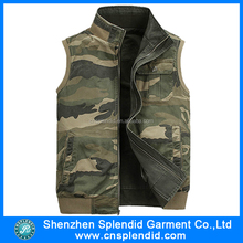men's High quality fashion denim vests wholesalest polyester cargo pocket vest
