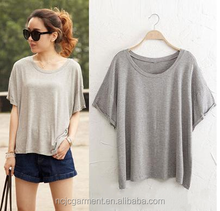 Summer pure color round collar short sleeve T-shirt female loose fit coat wet t shirt