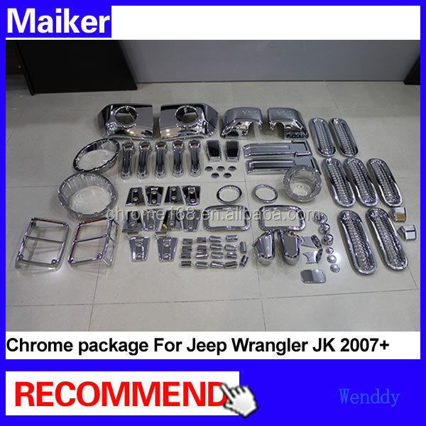 ABS plating kit decoration Package chrome kits For Jeep Wrangler JK 2007 exterior chrome accessories
