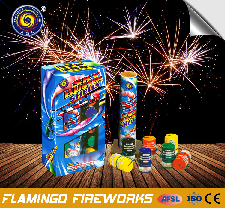 "With Custom Logo and Color Sky Buster Shells 1.75"" professional multi shell fireworks for sale"