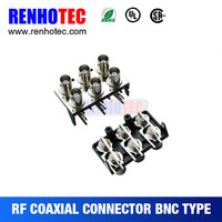New Arrival Right Angle Six BNC Jack in Two Rows. Black Plastic Housing Electrical Connector for PCB