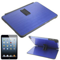 Newest Design Metal Brushed Paste Flip Plastic Case with Holder for iPad mini