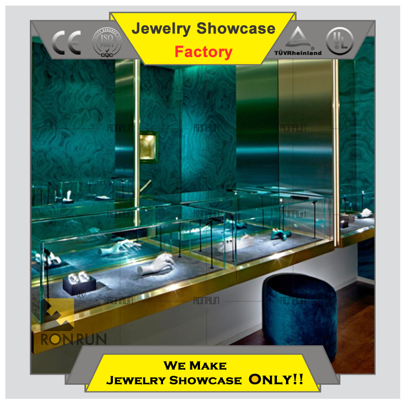 2015 top grade design wooden glass showcase jewellery counter display unit