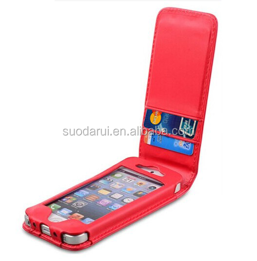 Factory Price Wallet Flip PU Leather Case for Apple iPhone 4 4S, Credit Card Slots