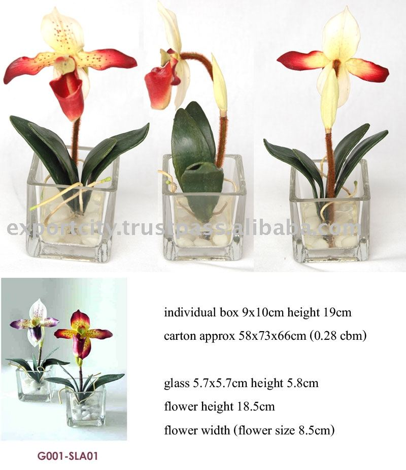 Artificial flowers, artificial orchid Table Set ( Lady Slipper Orchid)